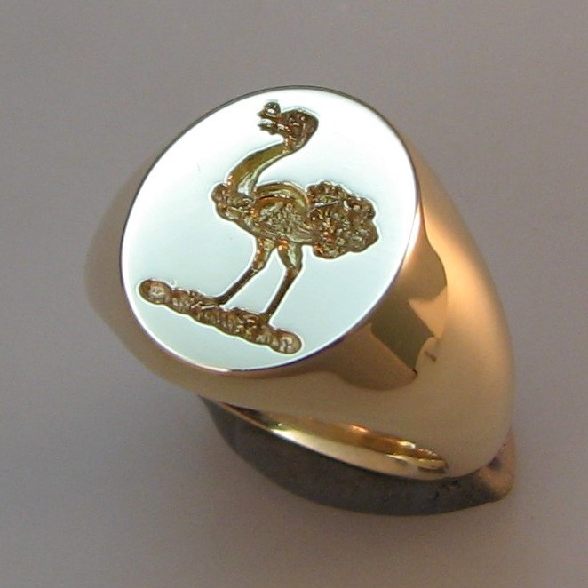 Ostrich crest engraved seal style signet ring