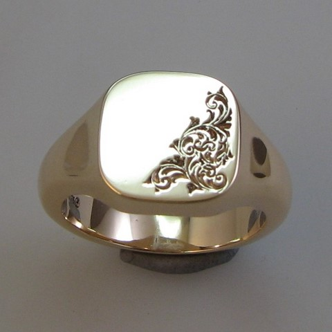 half engraved cushion shape signet ring