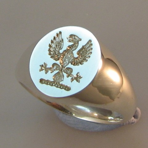 phoenic crest engraved signet ring