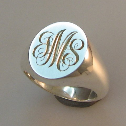 3 initials engraved signet ring