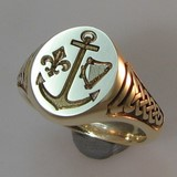 anchor heart fluer de lise seal engraved signet ring