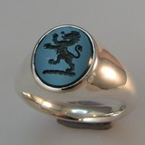 Bloodstone signet ring lion rampant crest engraved