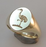 Crane bird deep reverse crest engraved signet ring