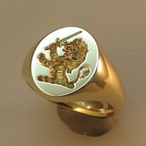 9ct gold heavyweight crest signet ring