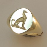 Wippet dog crest engraved signet ring