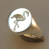 flamingo crest engraved signet ring