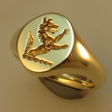 fox or wolf crest engraved signet ring