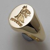 Griffin head reverse crest engraved signet ring