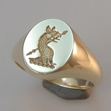 Griffin or Gryphon crest engraved signet ring