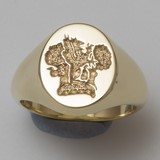 Griffin in oak grove crest engraved signet ring