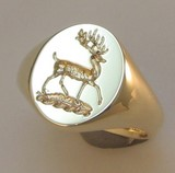 Stagg Rampant Seal Engraved Crest Signet Ring