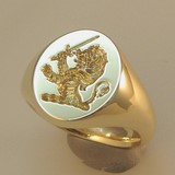 Demi lion with sword crest engraved signet ring
