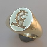 deep reverse crest engraved leopard head crown collar signet ring