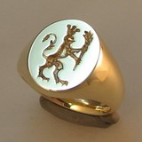 deep reverse crest engraved signet ring