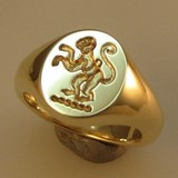 Monkey deep reverse crest signet ring