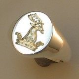 Rams head in crown crest engraved signet ring