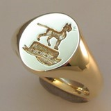 Sphynx cat on a hat crest engraved signet ring