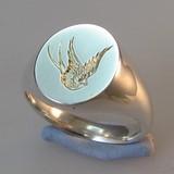 swallow of hope crest engraved signet ring