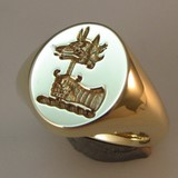 Wolf or fox head on sword crest ring
