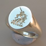 Unicorn crest engraved signet ring